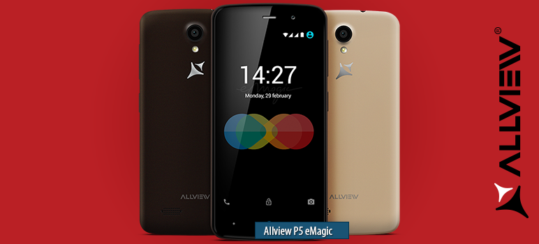 Allview P5 eMagic » Android smartphone » Aparitie 2016, Martie. Features 3G, 4.5″ Capacitive touchscreen, 5 MP camera, Wi-Fi, GPS, Bluetooth.