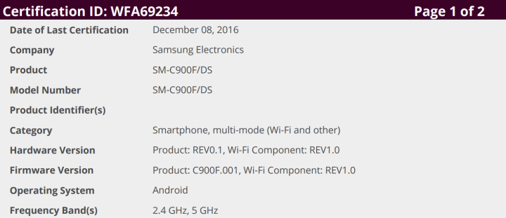 Samsung Galaxy C9 Pro primeste certificat Wi-Fi