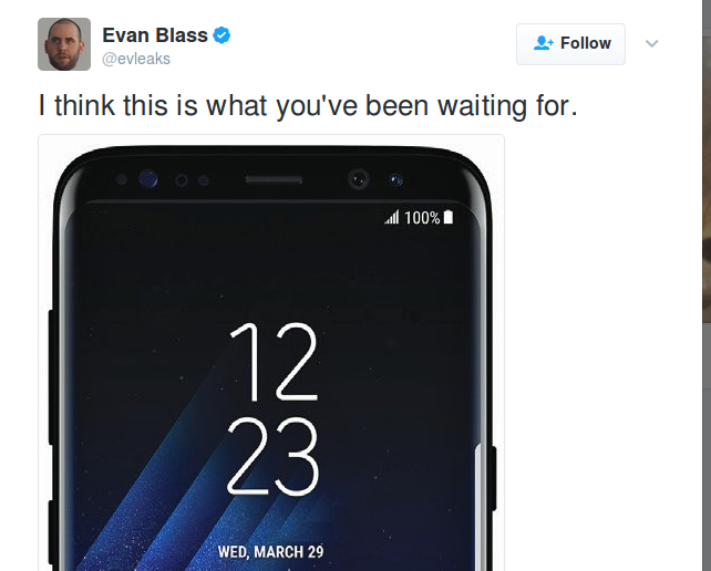Samsung Galaxy S8 imagine oficiala oferita de phone leaker-ul Evan Blass