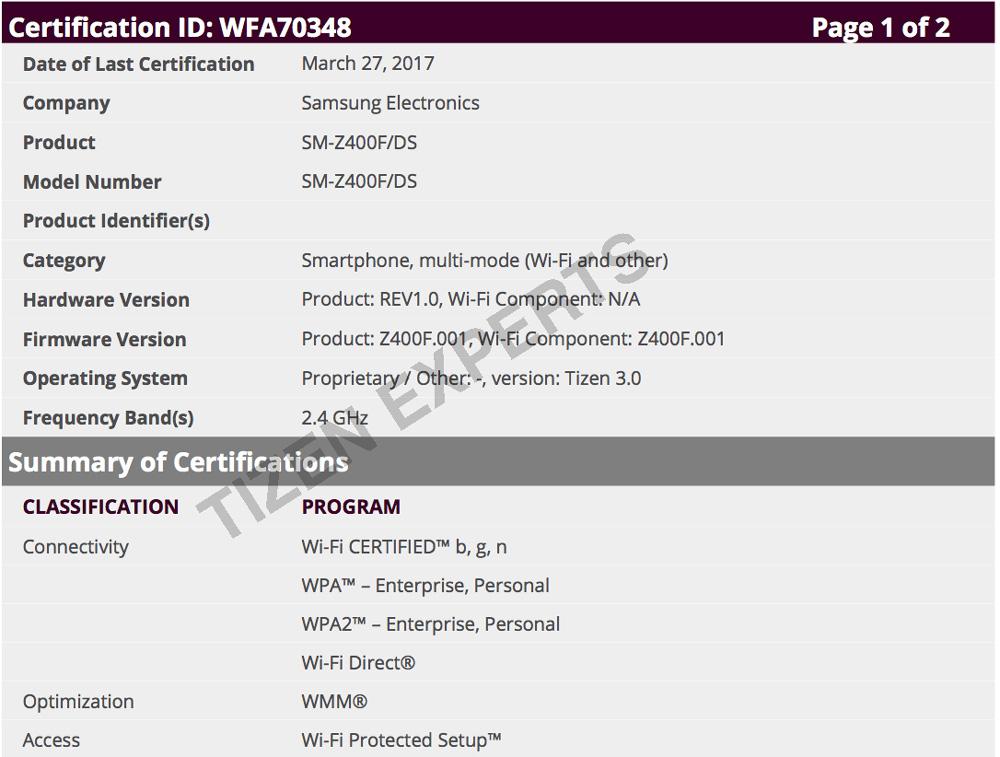 Samsung Z4 certificare