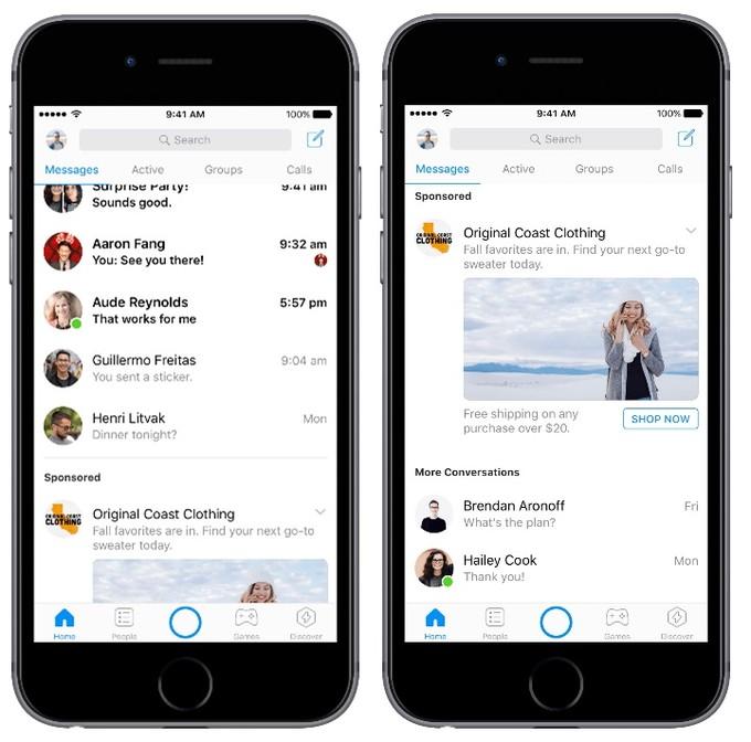 reclame Facebook Messenger