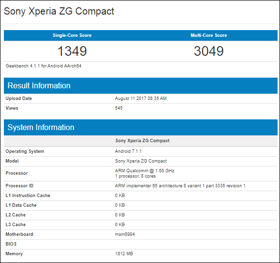 Sony Xperia ZG Compact specificatii