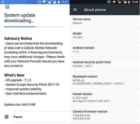 Nokia 6 update Nougat 7.1.2