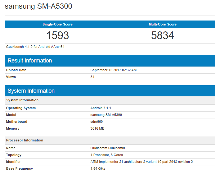 Samsung Galaxy A5 2018 GeekBench (2)