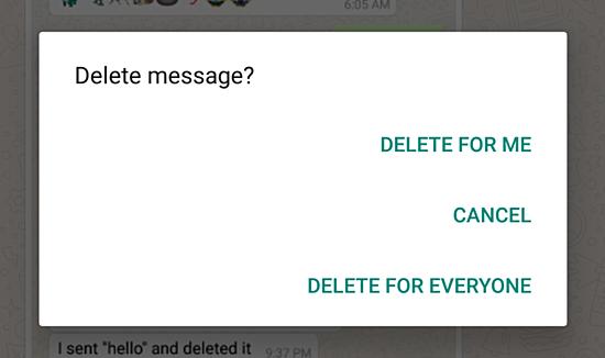 WhatsApp stergere mesaj