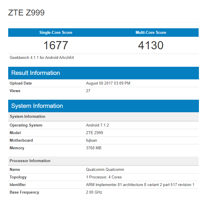 ZTE Axon Multy GeekBench