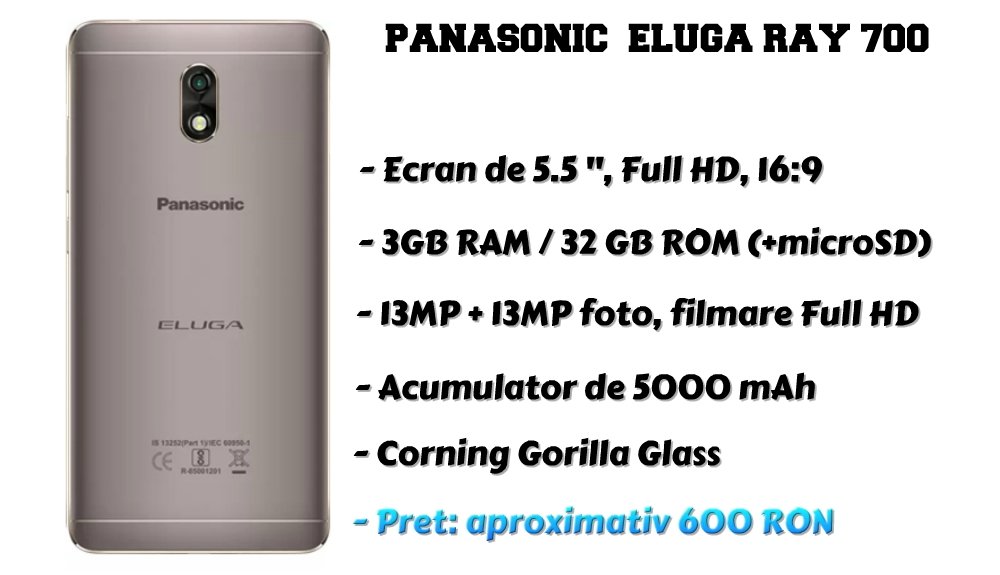 Panasonic Eluga Ray 700 specificatii tehnice