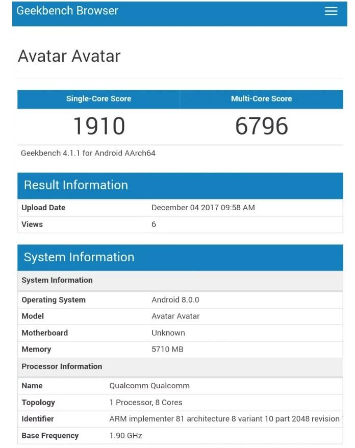 Nokia 9 specificatii Geekbench