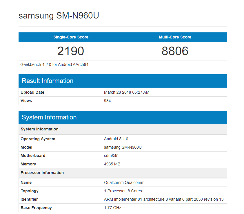 Samsung Galaxy Note 9 - GeekBench