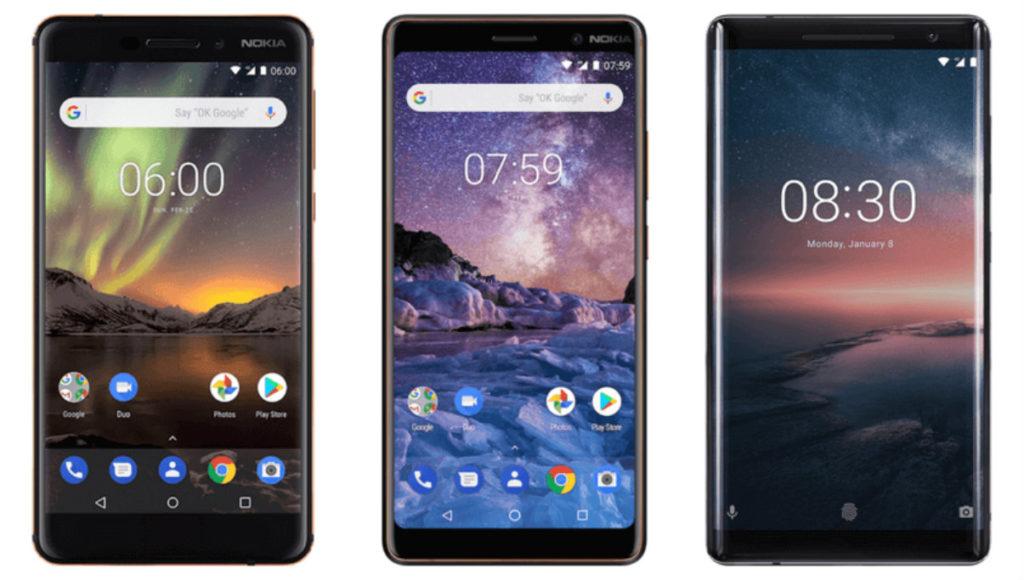Nokia 6.1 2018, Nokia 7 Plus si Nokia 8 Sirocco