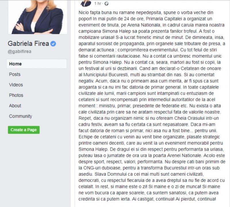 Mesaj Gabriela Firea