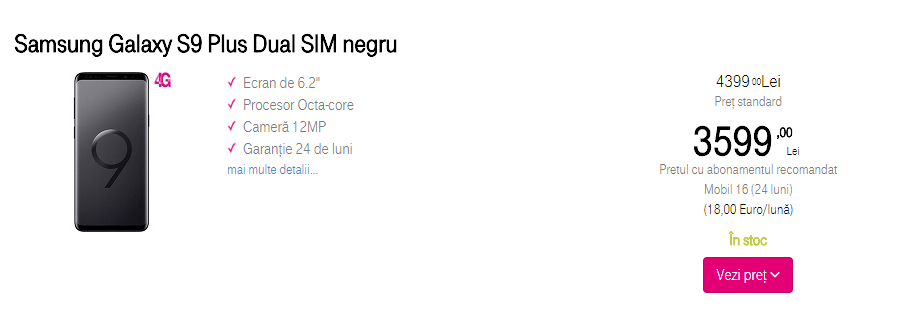 Samsung Galaxy S9 Plus Telekom Romania
