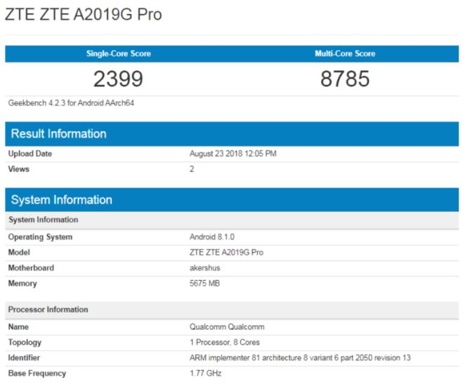 Benchmartk ZTE Axon 9 Pro