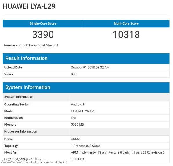 GeekBench, Huawei Mate 20