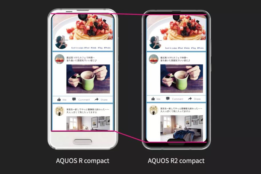 Sharp AQUOS R2 Compact vs Sharp AQUOS R2