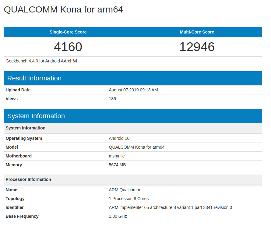 Snapdragon 865 Geekbench